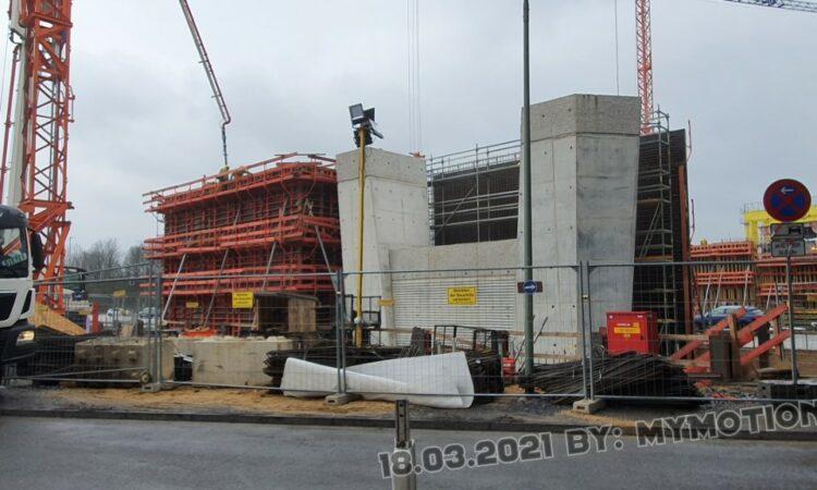 Neubau der A40 Rheinbrücke in Duisburg Blickrichtung links der Flachsstr