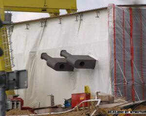 Neubau der A40 Rheinbrücke in Duisburg Blick zur Auffahrt Richt Essen